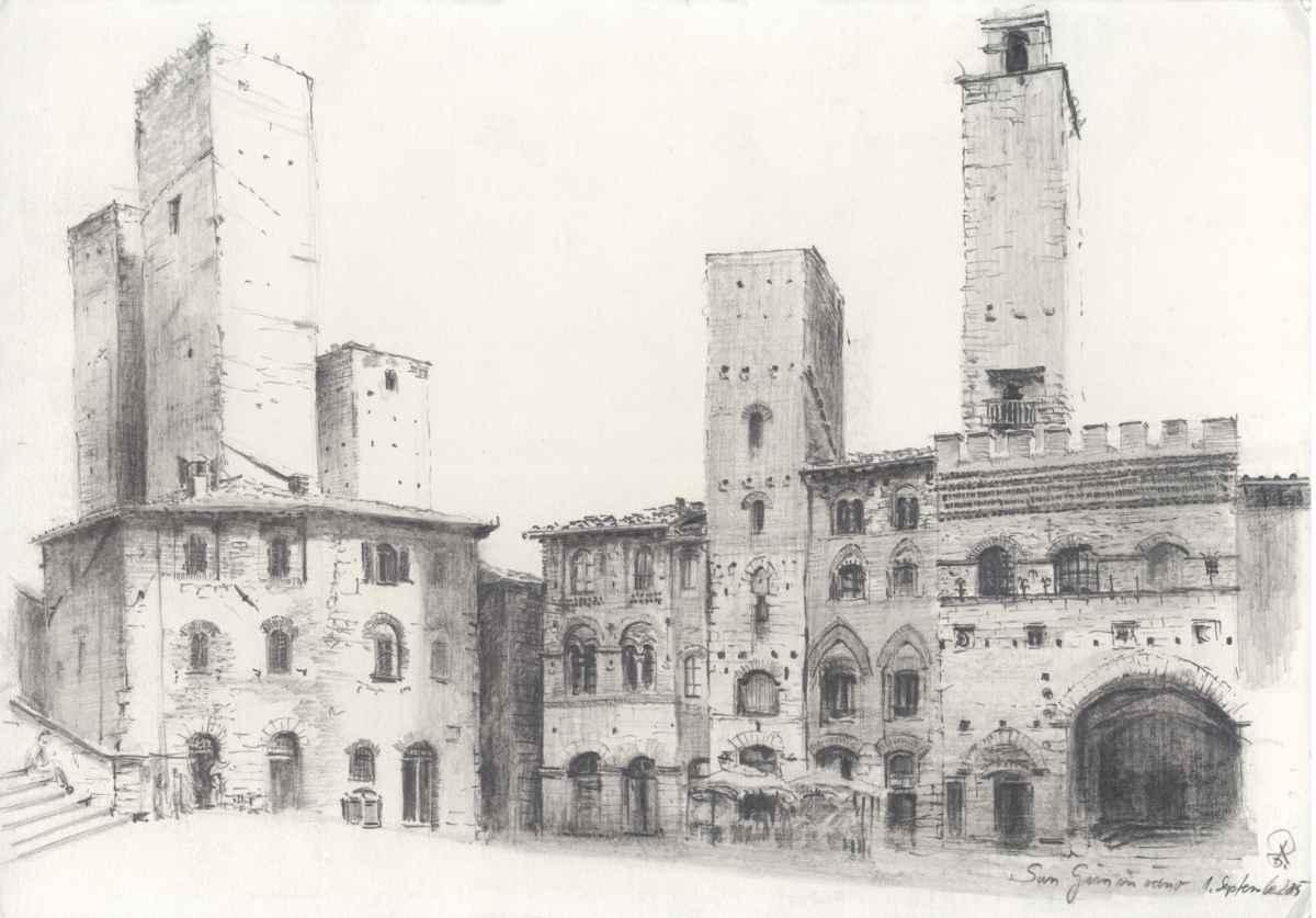 Zeichnung San Gimignano Roland Gäfgen
