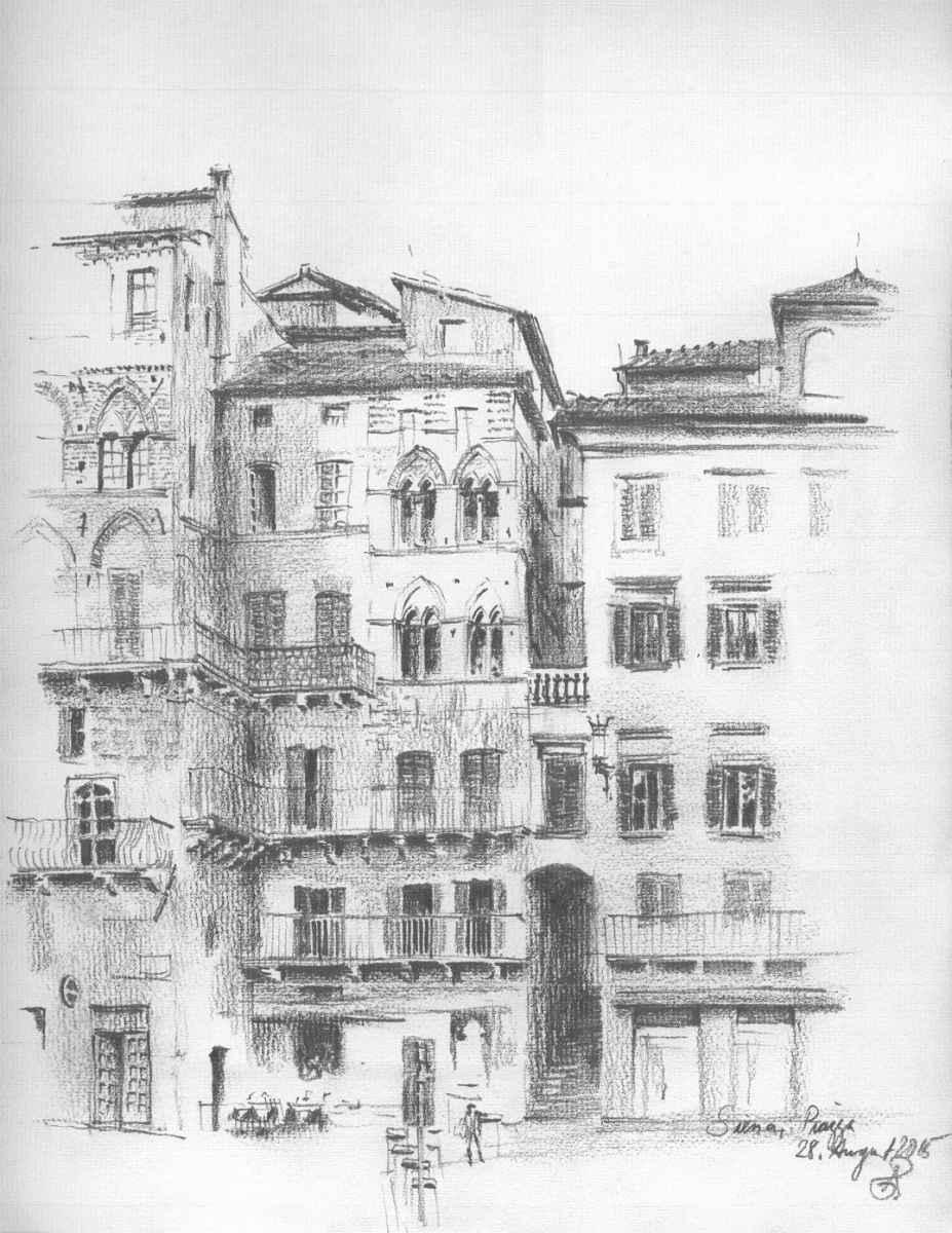 Zeichnung Siena Piazza Roland gäfgen