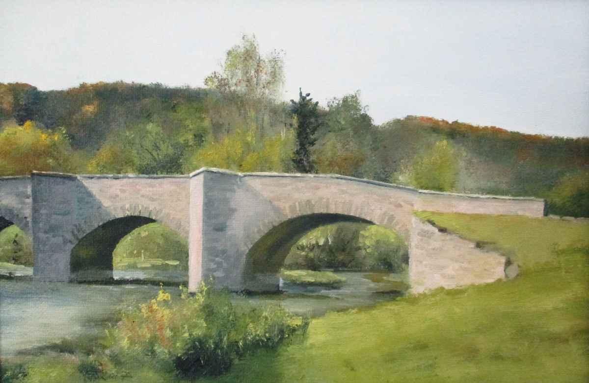 Jagsttal Oberregenbach Brücke Roland Gäfgen Ölmalerei