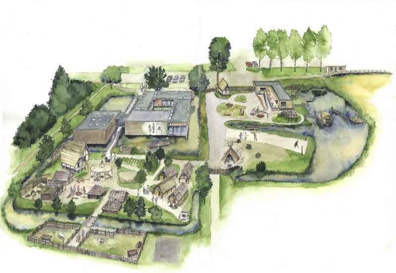 Luftbild Federseemuseum Museumsplan Modell Illustration Archäologie Roland Gäfgen blick zeit bild