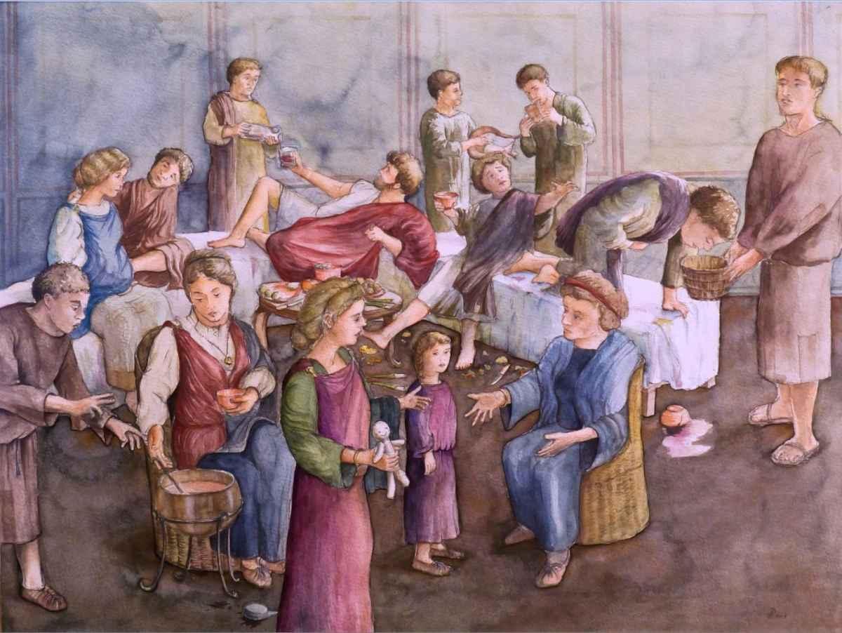 Römer Gelage römische Fest Essen Modell Illustration Archäologie Roland Gäfgen blick zeit bild