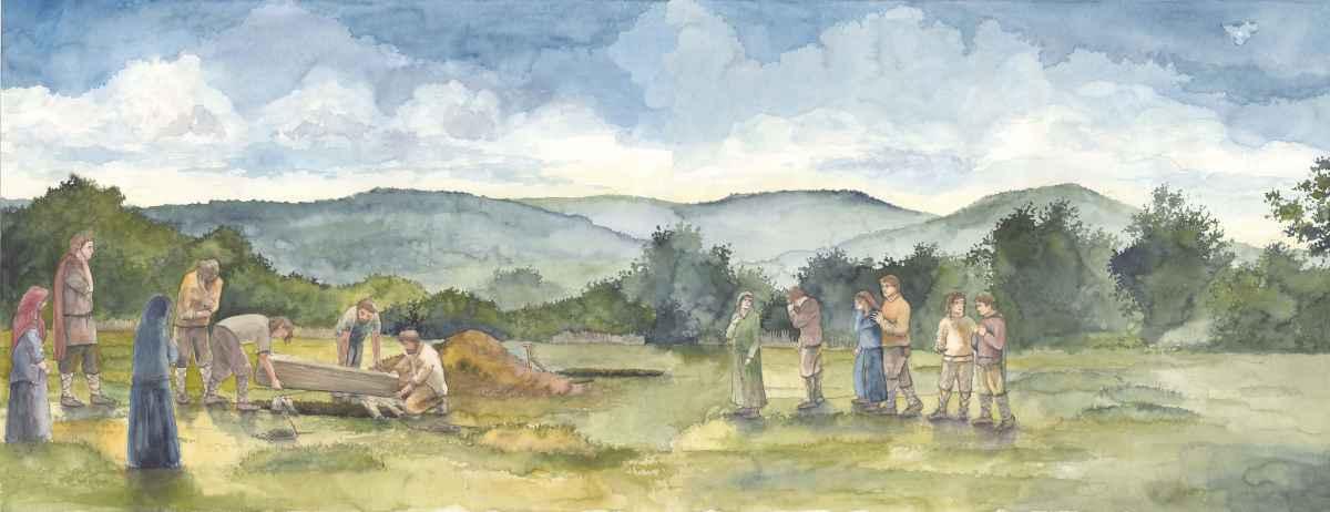 Alamannen Bestattung Modell Illustration Archäologie Roland Gäfgen blick zeit bild