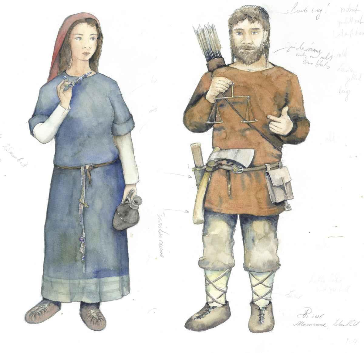 Alamannen Frau Mann Kleidung Museum Horb Modell Illustration Archäologie Roland Gäfgen blick zeit bild