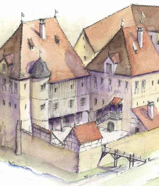 Schloss Dürnau Graf Degenfeld Modell Illustration Archäologie Roland Gäfgen blick zeit bild