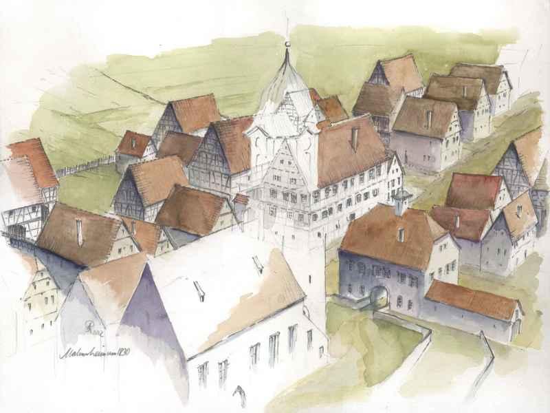 Malmsheim Modell Illustration Archäologie Roland Gäfgen blick zeit bild