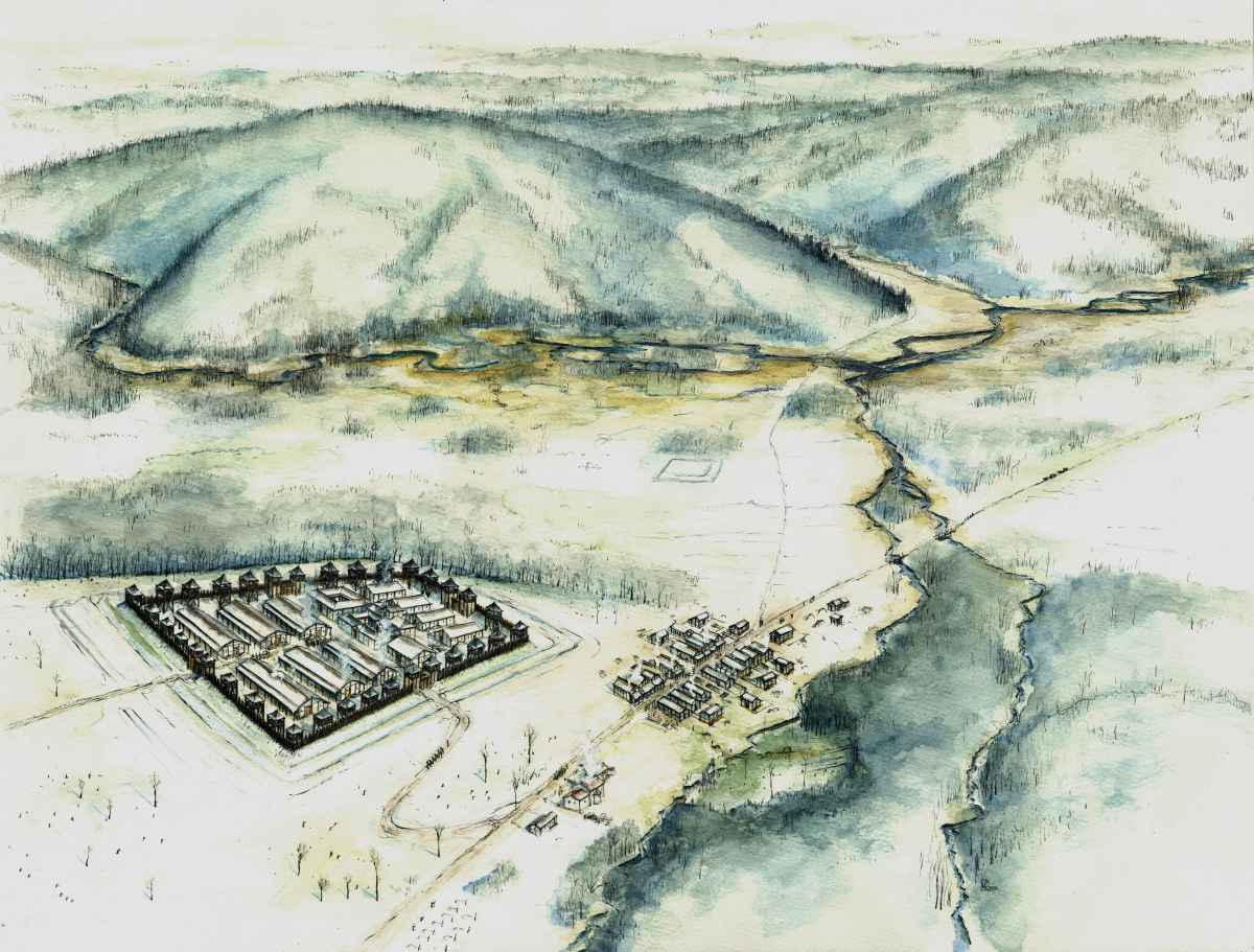 Luftbild Römer Kastell Limes Modell Illustration Archäologie Roland Gäfgen blick zeit bild